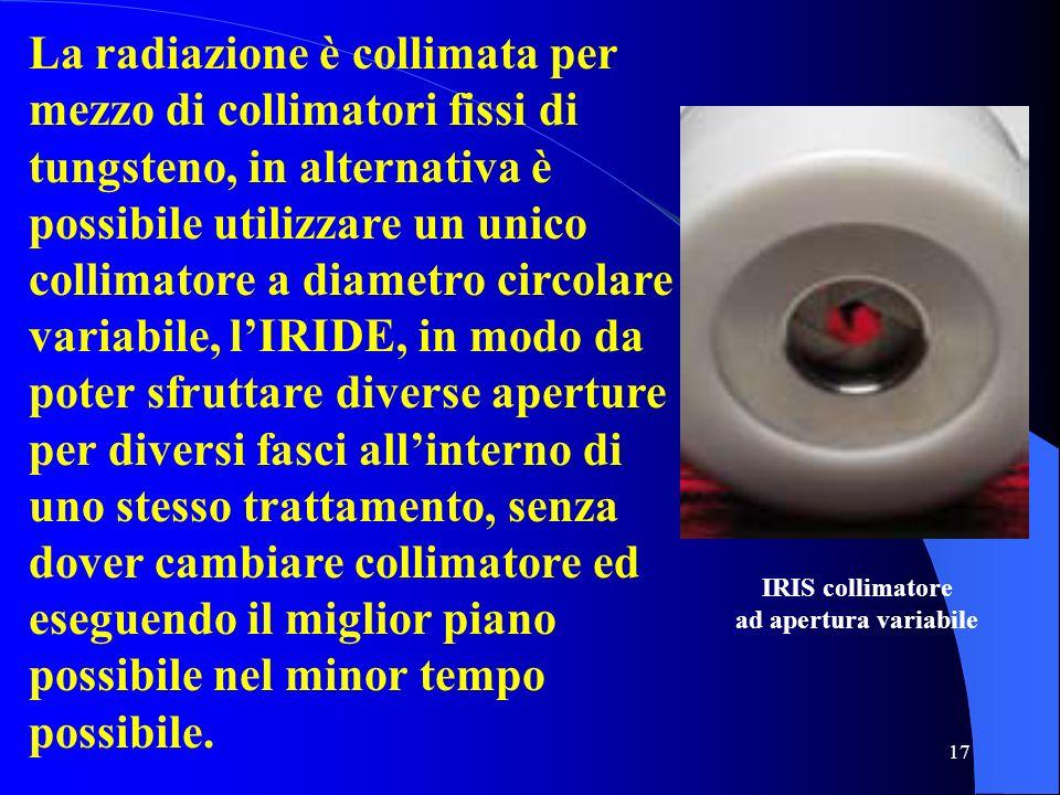 17 La radiazione è collimata per mezzo di collimatori fissi di tungsteno, in alternativa è possibile utilizzare un unico collimatore a diametro circol