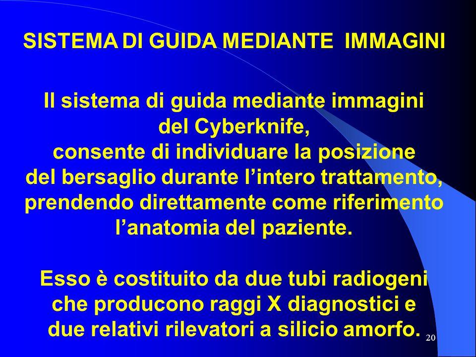 20 SISTEMA DI GUIDA MEDIANTE IMMAGINI Il sistema di guida mediante immagini del Cyberknife, consente di individuare la posizione del bersaglio durante