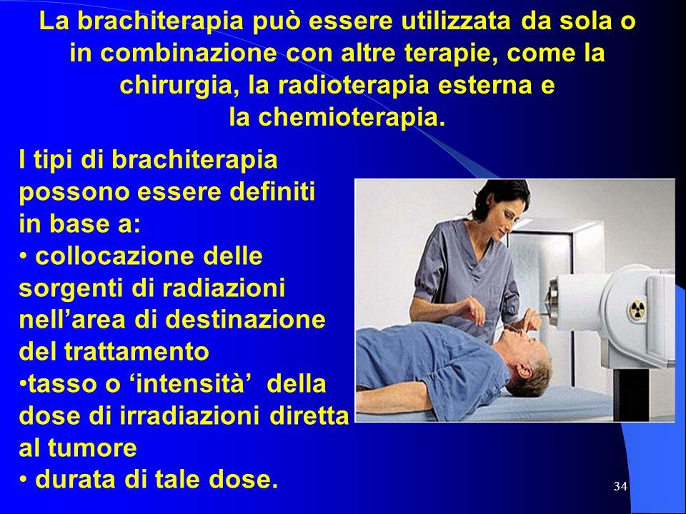34 La brachiterapia può essere utilizzata da sola o in combinazione con altre terapie, come la chirurgia, la radioterapia esterna e la chemioterapia.
