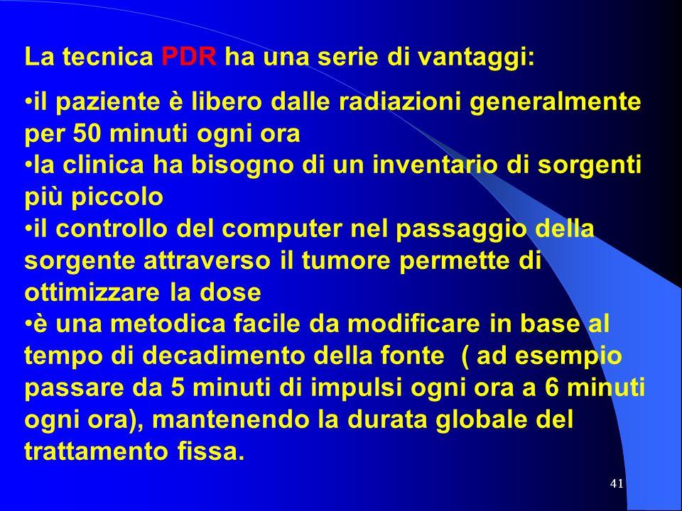 41 La tecnica PDR ha una serie di vantaggi: il paziente è libero dalle radiazioni generalmente per 50 minuti ogni ora la clinica ha bisogno di un inve
