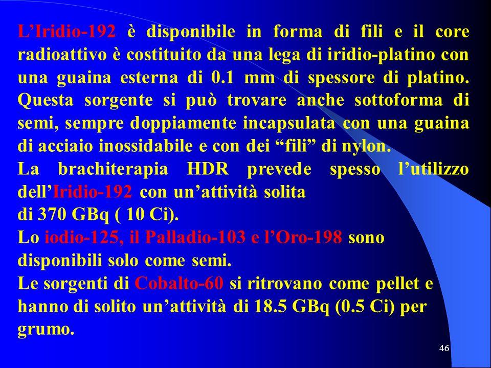 46 LIridio-192 è disponibile in forma di fili e il core radioattivo è costituito da una lega di iridio-platino con una guaina esterna di 0.1 mm di spe