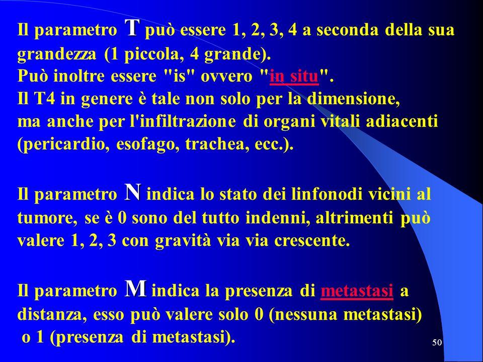 50 T Il parametro T può essere 1, 2, 3, 4 a seconda della sua grandezza (1 piccola, 4 grande). Può inoltre essere