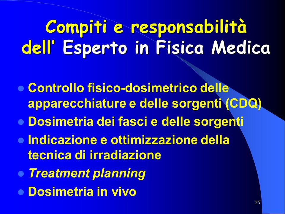 57 Compiti e responsabilità dell Esperto in Fisica Medica Controllo fisico-dosimetrico delle apparecchiature e delle sorgenti (CDQ) Dosimetria dei fas