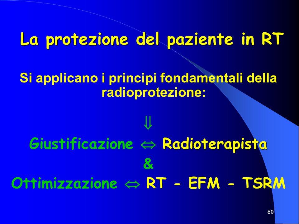 60 La protezione del paziente in RT Si applicano i principi fondamentali della radioprotezione: Radioterapista Giustificazione Radioterapista & Ottimi