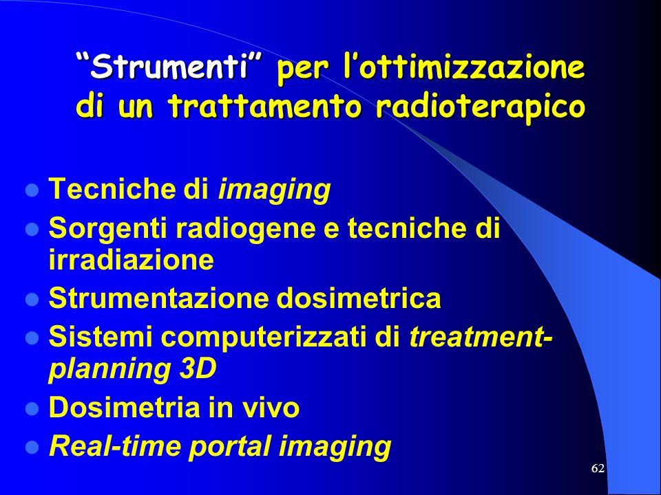 62 Strumenti per lottimizzazione di un trattamento radioterapico Tecniche di imaging Sorgenti radiogene e tecniche di irradiazione Strumentazione dosi
