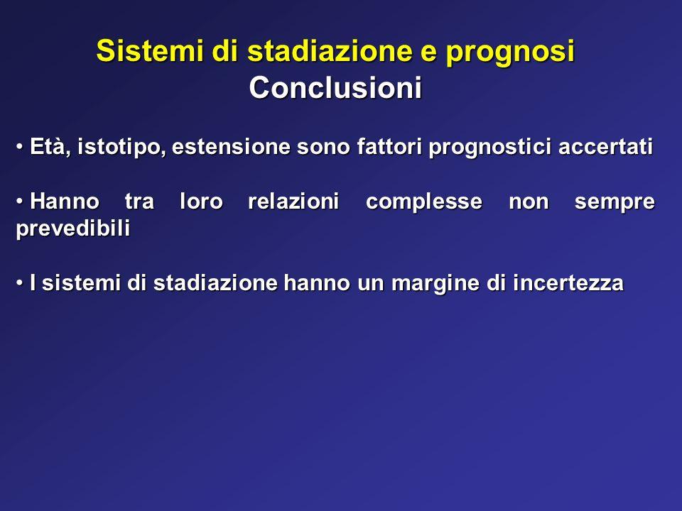 Sistemi di stadiazione e prognosi Conclusioni Età, istotipo, estensione sono fattori prognostici accertati Età, istotipo, estensione sono fattori prog