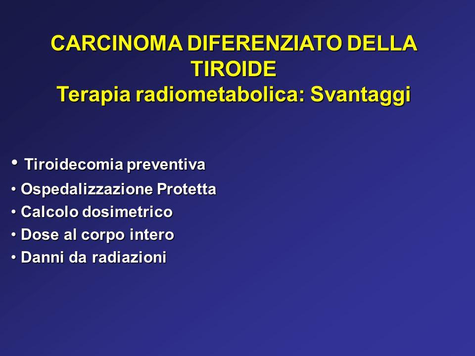 CARCINOMA DIFERENZIATO DELLA TIROIDE Terapia radiometabolica: Svantaggi Tiroidecomia preventiva Tiroidecomia preventiva Ospedalizzazione Protetta Ospe