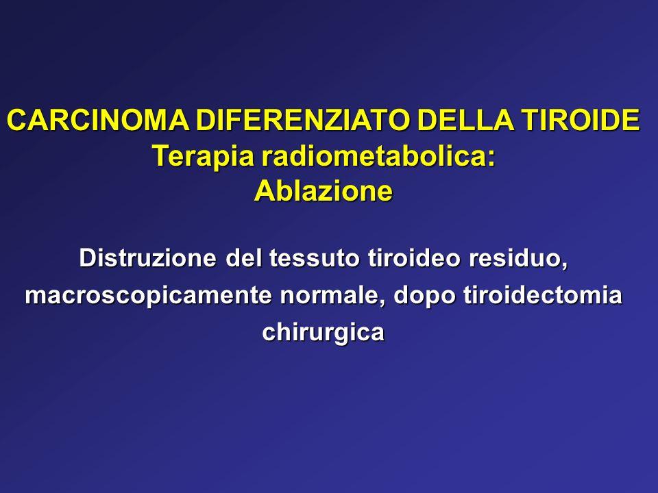 CARCINOMA DIFERENZIATO DELLA TIROIDE Terapia radiometabolica: Ablazione Distruzione del tessuto tiroideo residuo, macroscopicamente normale, dopo tiro