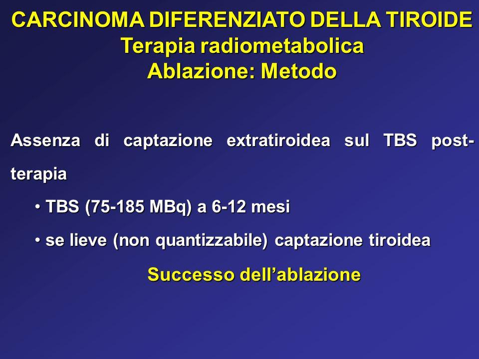 CARCINOMA DIFERENZIATO DELLA TIROIDE Terapia radiometabolica Ablazione: Metodo Assenza di captazione extratiroidea sul TBS post- terapia TBS (75-185 M