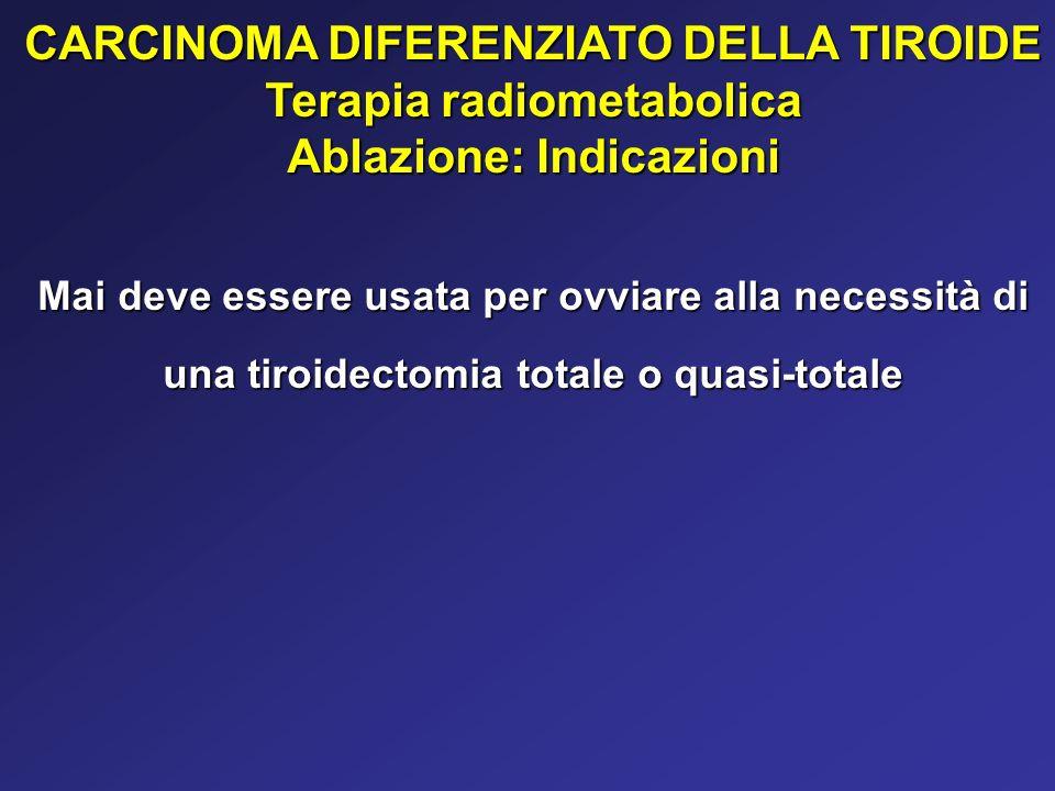 CARCINOMA DIFERENZIATO DELLA TIROIDE Terapia radiometabolica Ablazione: Indicazioni Mai deve essere usata per ovviare alla necessità di una tiroidecto