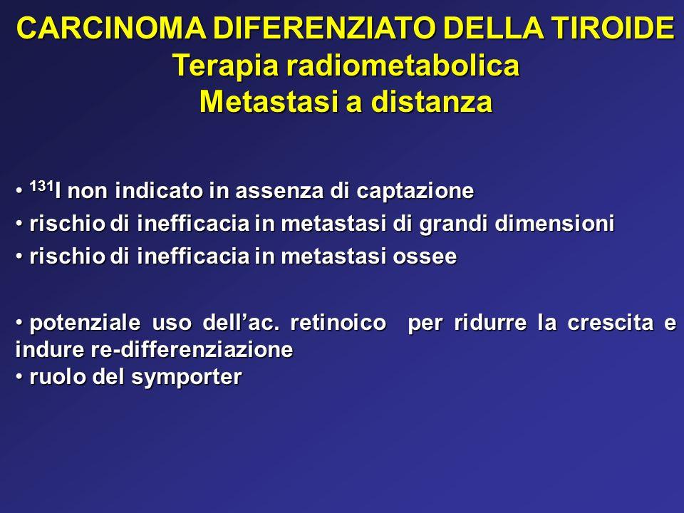 CARCINOMA DIFERENZIATO DELLA TIROIDE Terapia radiometabolica Metastasi a distanza 131 I non indicato in assenza di captazione 131 I non indicato in as