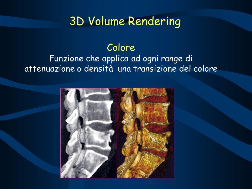 Colore Funzione che applica ad ogni range di attenuazione o densità una transizione del colore 3D Volume Rendering