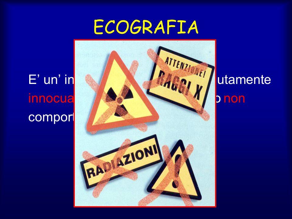 ECOGRAFIA E un indagine diagnostica assolutamente innocua infatti lesame ecografico non comporta limpiego di raggi X