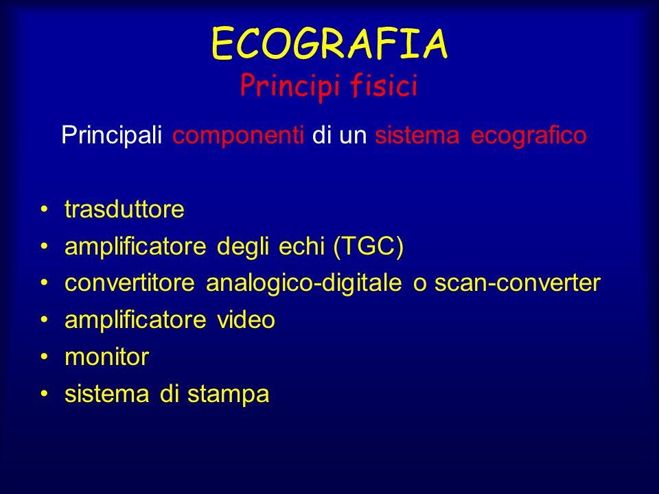 ECOGRAFIA Principi fisici Principali componenti di un sistema ecografico trasduttore amplificatore degli echi (TGC) convertitore analogico-digitale o scan-converter amplificatore video monitor sistema di stampa