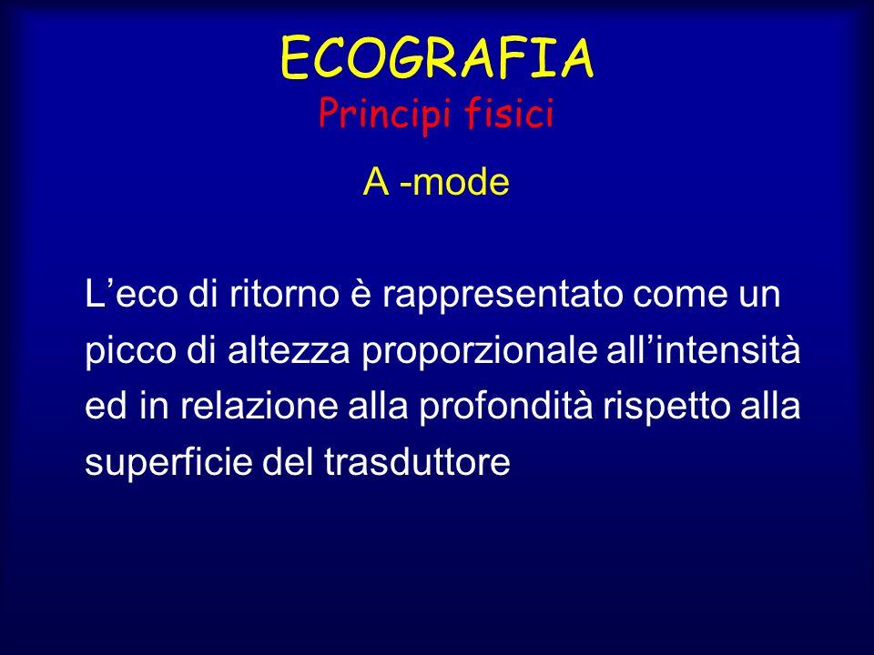 ECOGRAFIA Principi fisici A -mode Leco di ritorno è rappresentato come un picco di altezza proporzionale allintensità ed in relazione alla profondità rispetto alla superficie del trasduttore