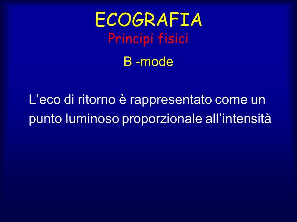 ECOGRAFIA Principi fisici B -mode Leco di ritorno è rappresentato come un punto luminoso proporzionale allintensità