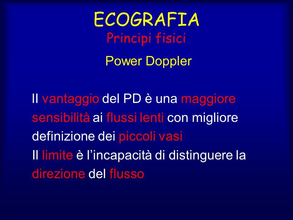 ECOGRAFIA Principi fisici Power Doppler lI vantaggio del PD è una maggiore sensibilità ai flussi lenti con migliore definizione dei piccoli vasi Il limite è lincapacità di distinguere la direzione del flusso