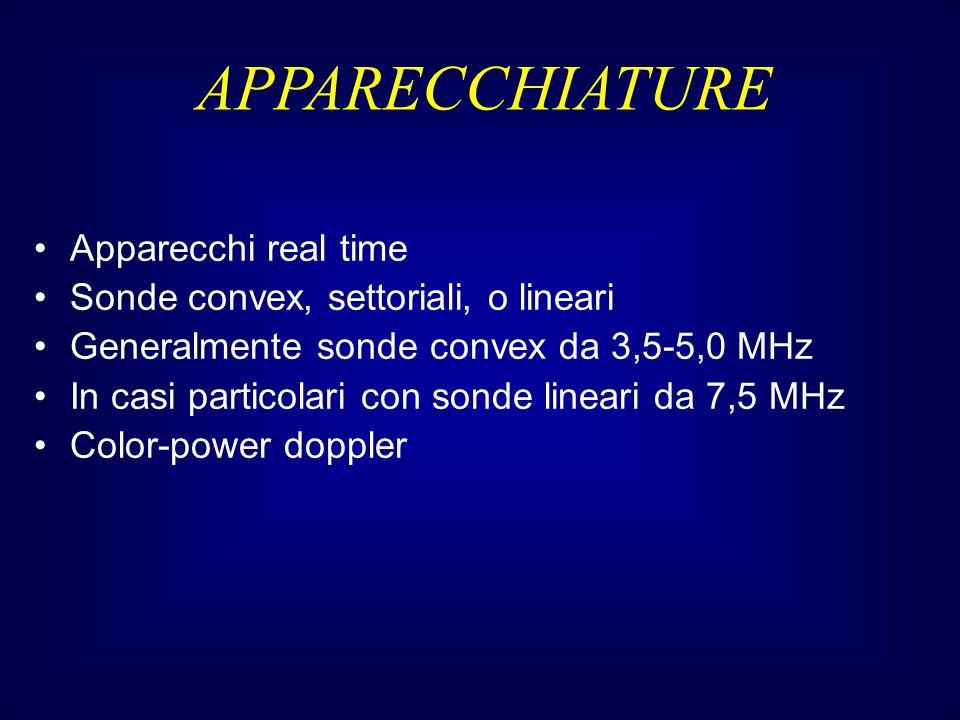 Apparecchi real time Sonde convex, settoriali, o lineari Generalmente sonde convex da 3,5-5,0 MHz In casi particolari con sonde lineari da 7,5 MHz Color-power doppler APPARECCHIATURE
