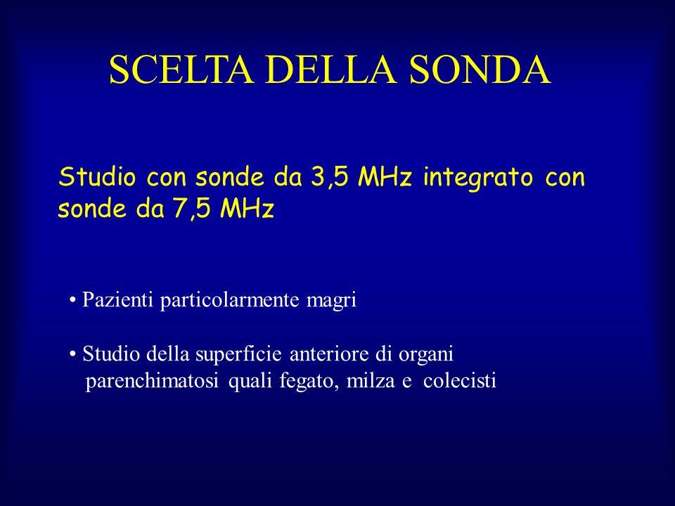 Studio con sonde da 3,5 MHz integrato con sonde da 7,5 MHz Pazienti particolarmente magri Studio della superficie anteriore di organi parenchimatosi quali fegato, milza e colecisti SCELTA DELLA SONDA