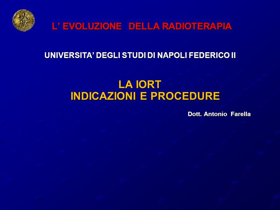 LA IORT INDICAZIONI E PROCEDURE IL PERCORSO IORT CULTURALE CULTURALE PRE- CLINICO/CLINICO PRE- CLINICO/CLINICO OPERATIVO/PROCEDURALE OPERATIVO/PROCEDURALE OBIETTIVI COMUNI ALL INTERNO DI UN TEAM MULTIDISCIPLINARE