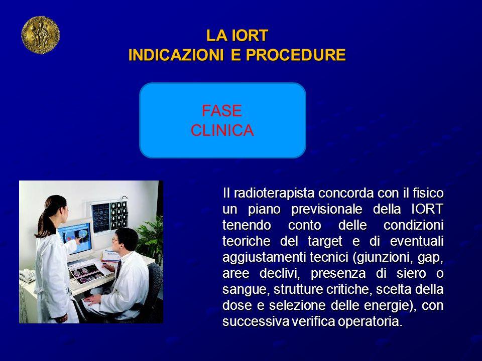 LA IORT INDICAZIONI E PROCEDURE Il radioterapista concorda con il fisico un piano previsionale della IORT tenendo conto delle condizioni teoriche del