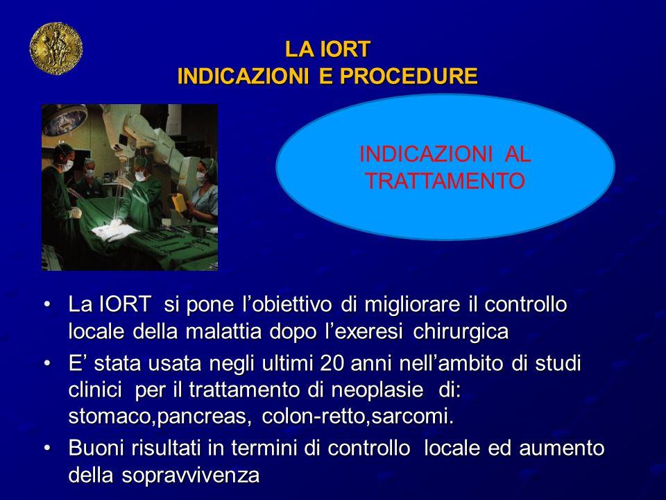 LA IORT INDICAZIONI E PROCEDURE La IORT si pone lobiettivo di migliorare il controllo locale della malattia dopo lexeresi chirurgicaLa IORT si pone lo