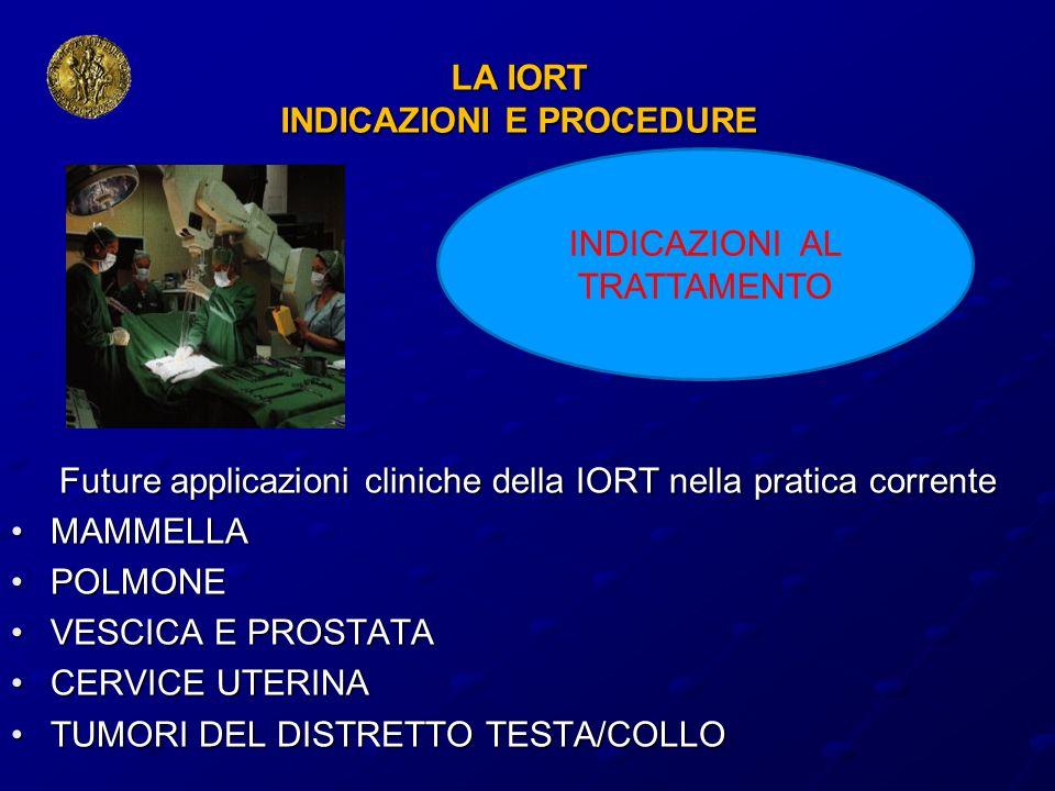 LA IORT INDICAZIONI E PROCEDURE Future applicazioni cliniche della IORT nella pratica corrente MAMMELLAMAMMELLA POLMONEPOLMONE VESCICA E PROSTATAVESCI