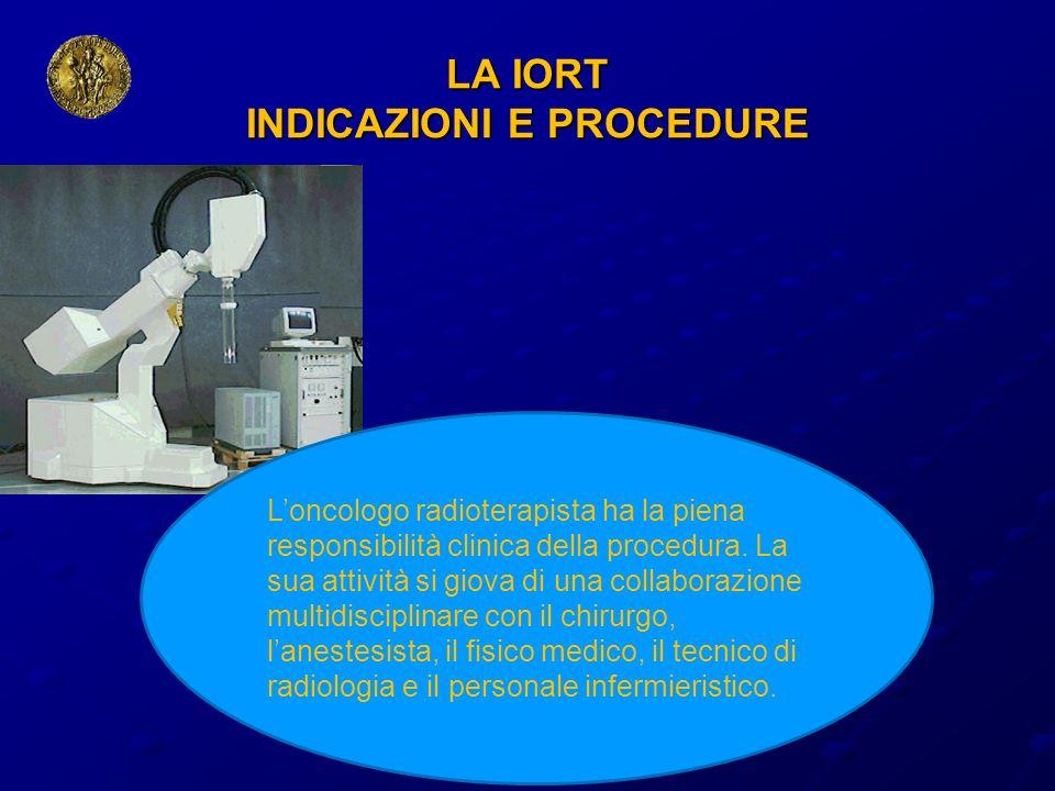 LA IORT INDICAZIONI E PROCEDURE Loncologo radioterapista ha la piena responsibilità clinica della procedura. La sua attività si giova di una collabora