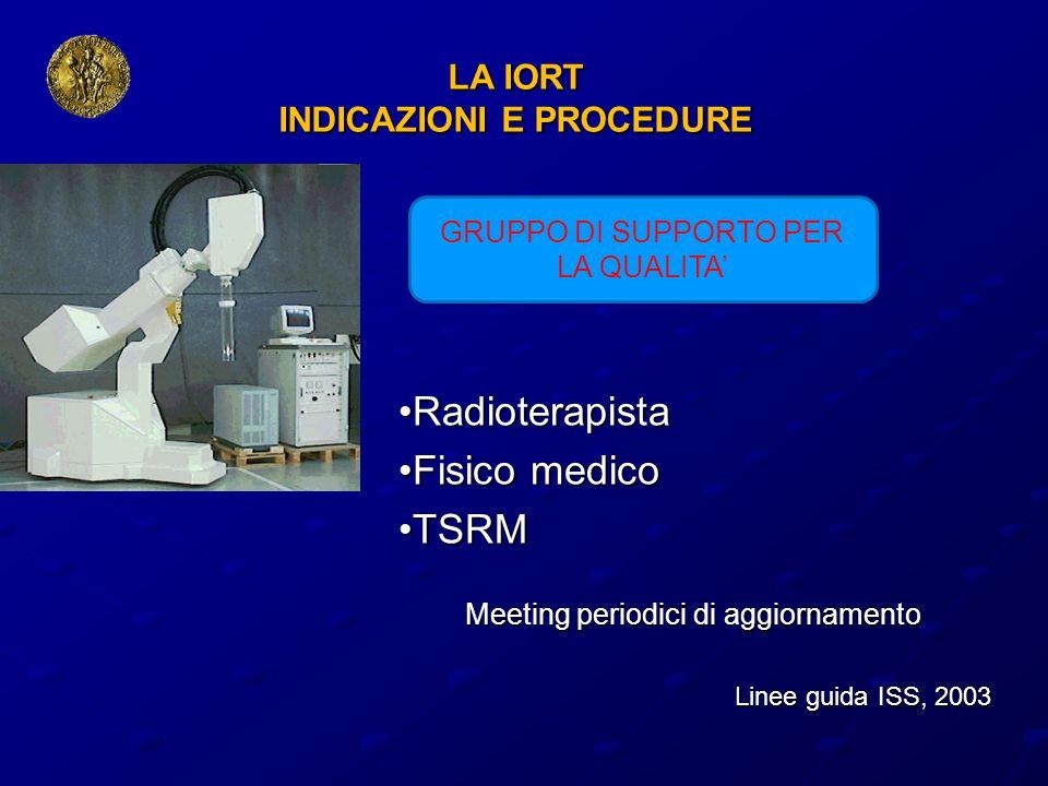 LA IORT INDICAZIONI E PROCEDURE Radioterapista Radioterapista Fisico medico Fisico medico TSRM TSRM Meeting periodici di aggiornamento Meeting periodi