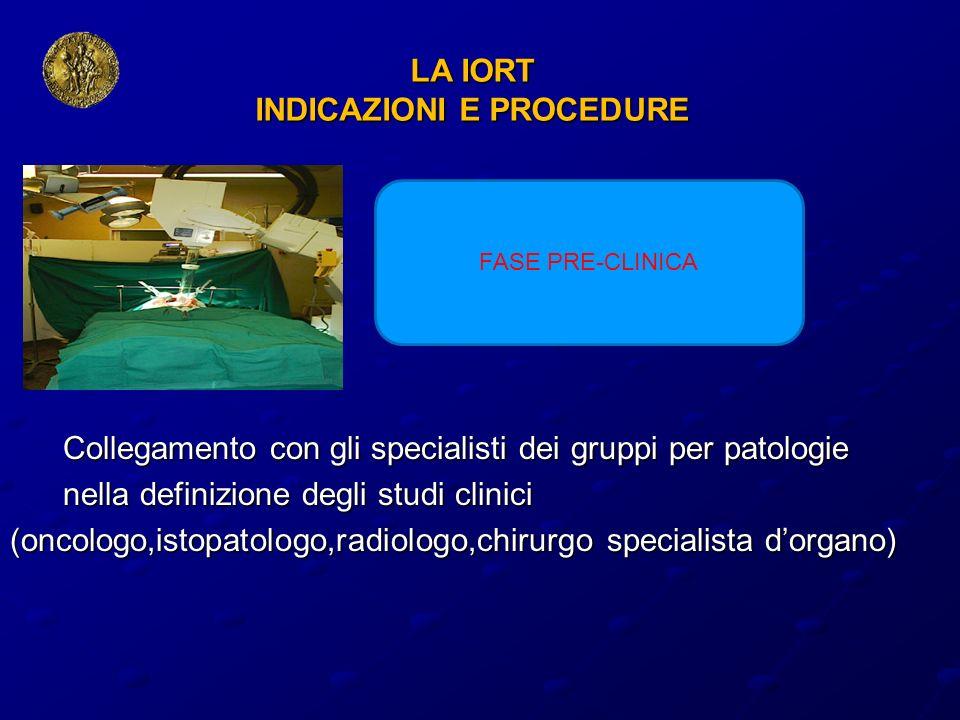 LA IORT INDICAZIONI E PROCEDURE Collegamento con gli specialisti dei gruppi per patologie Collegamento con gli specialisti dei gruppi per patologie ne