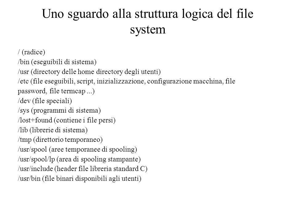 Uno sguardo alla struttura logica del file system / (radice) /bin (eseguibili di sistema) /usr (directory delle home directory degli utenti) /etc (file eseguibili, script, inizializzazione, configurazione macchina, file password, file termcap...) /dev (file speciali) /sys (programmi di sistema) /lost+found (contiene i file persi) /lib (librerie di sistema) /tmp (direttorio temporaneo) /usr/spool (aree temporanee di spooling) /usr/spool/lp (area di spooling stampante) /usr/include (header file libreria standard C) /usr/bin (file binari disponibili agli utenti)