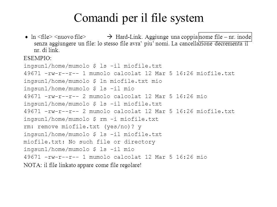 Comandi per il file system ln Hard-Link.Aggiunge una coppia nome file – nr.