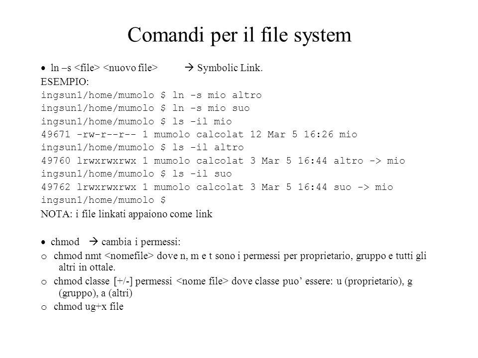 Comandi per il file system ln –s Symbolic Link.