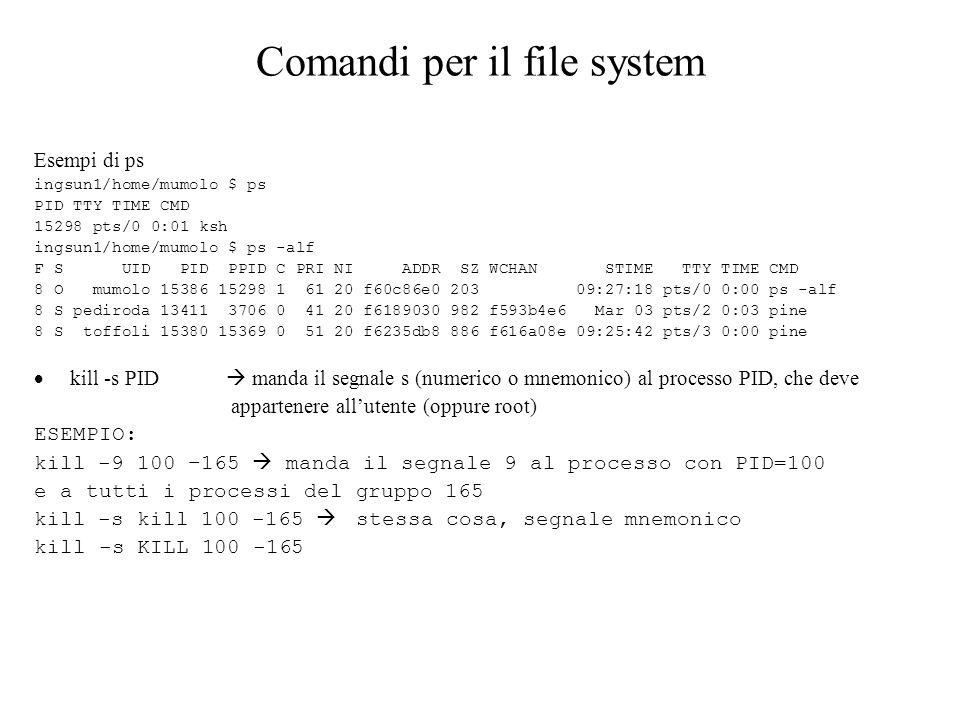 Comandi per il file system Esempi di ps ingsun1/home/mumolo $ ps PID TTY TIME CMD 15298 pts/0 0:01 ksh ingsun1/home/mumolo $ ps -alf F S UID PID PPID C PRI NI ADDR SZ WCHAN STIME TTY TIME CMD 8 O mumolo 15386 15298 1 61 20 f60c86e0 203 09:27:18 pts/0 0:00 ps -alf 8 S pediroda 13411 3706 0 41 20 f6189030 982 f593b4e6 Mar 03 pts/2 0:03 pine 8 S toffoli 15380 15369 0 51 20 f6235db8 886 f616a08e 09:25:42 pts/3 0:00 pine kill -s PID manda il segnale s (numerico o mnemonico) al processo PID, che deve appartenere allutente (oppure root) ESEMPIO: kill -9 100 –165 manda il segnale 9 al processo con PID=100 e a tutti i processi del gruppo 165 kill -s kill 100 -165 stessa cosa, segnale mnemonico kill -s KILL 100 -165