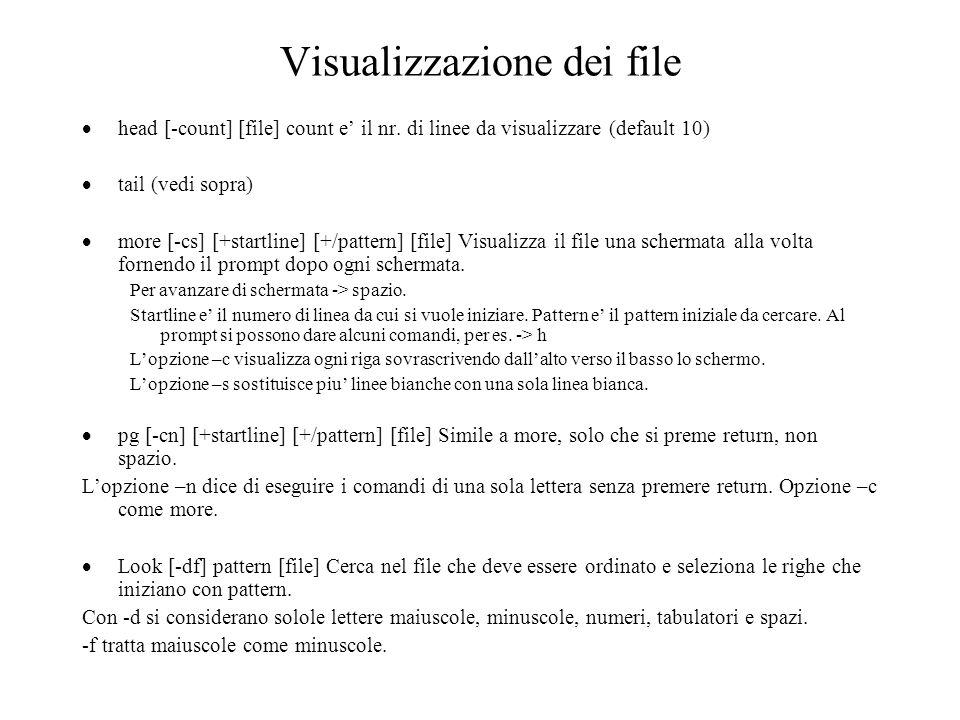 Visualizzazione dei file head [-count] [file] count e il nr.