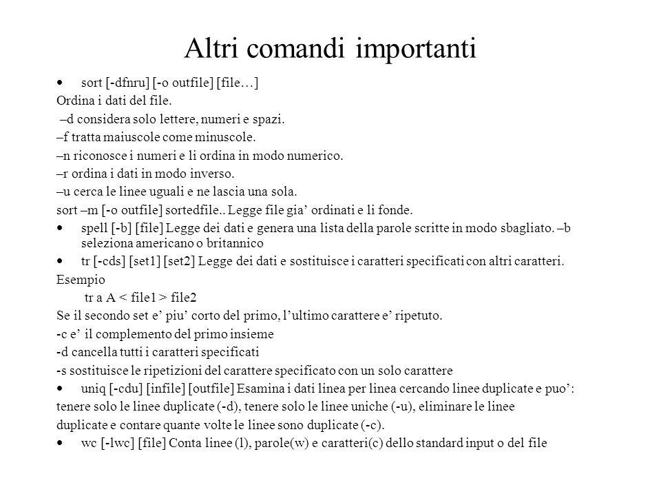 Altri comandi importanti sort [-dfnru] [-o outfile] [file…] Ordina i dati del file.