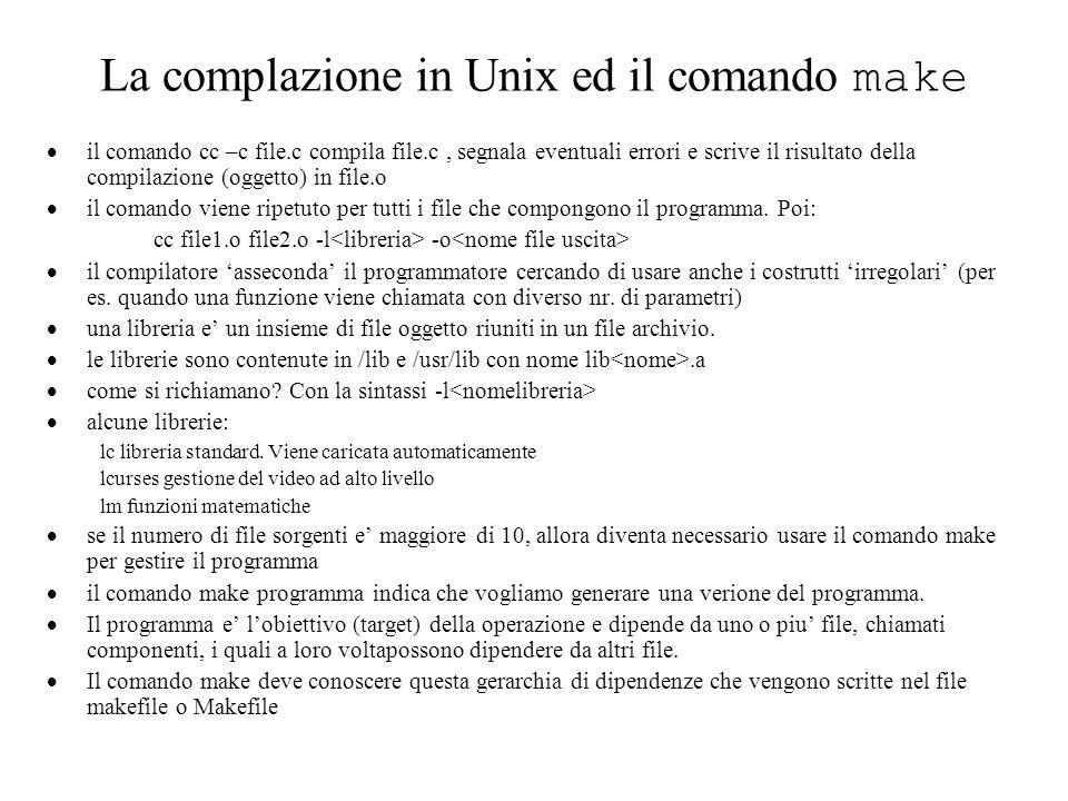 La complazione in Unix ed il comando make il comando cc –c file.c compila file.c, segnala eventuali errori e scrive il risultato della compilazione (oggetto) in file.o il comando viene ripetuto per tutti i file che compongono il programma.