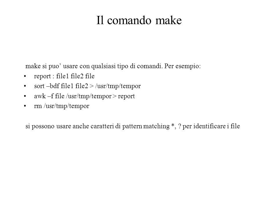Il comando make make si puo usare con qualsiasi tipo di comandi.