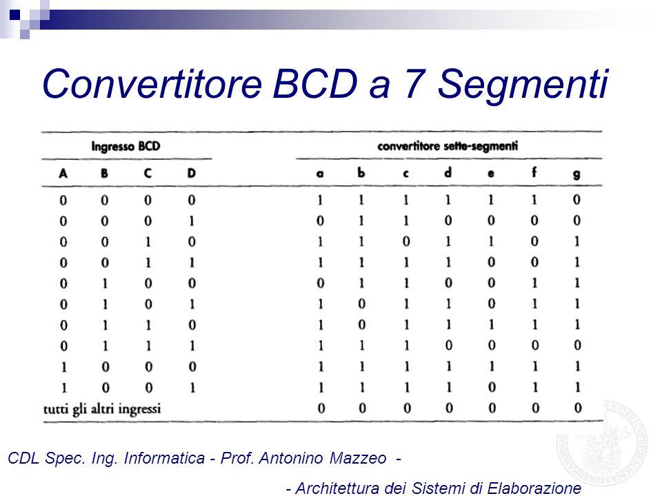 Convertitore BCD a 7 Segmenti CDL Spec. Ing. Informatica - Prof. Antonino Mazzeo - - Architettura dei Sistemi di Elaborazione