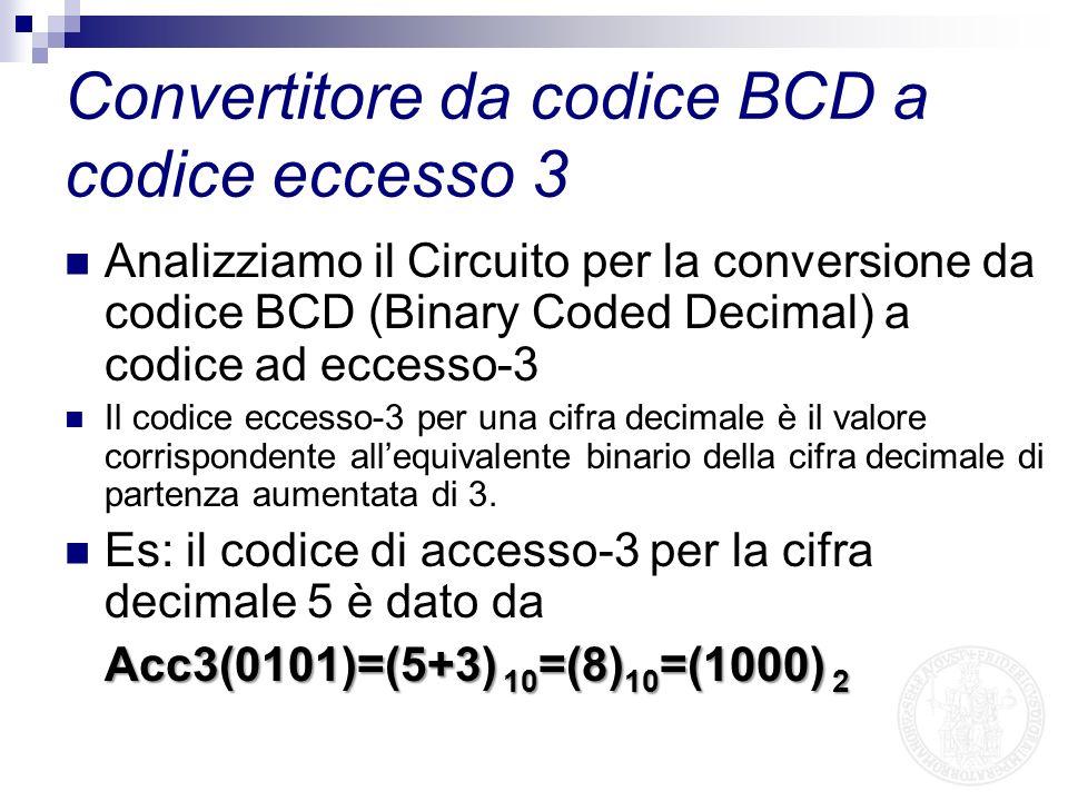 Analizziamo il Circuito per la conversione da codice BCD (Binary Coded Decimal) a codice ad eccesso-3 Il codice eccesso-3 per una cifra decimale è il