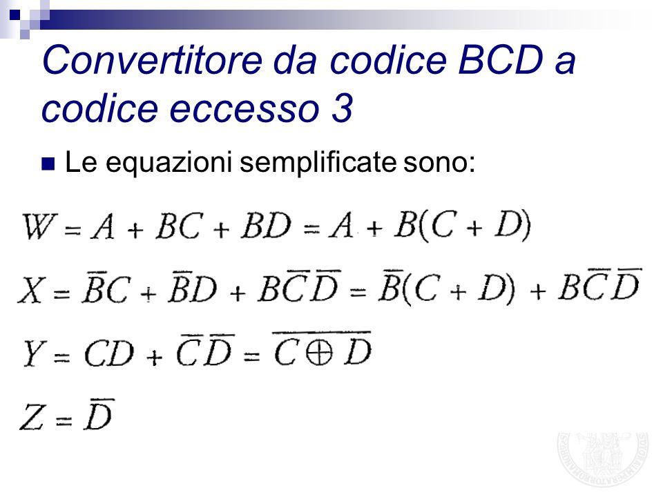 Le equazioni semplificate sono: Convertitore da codice BCD a codice eccesso 3