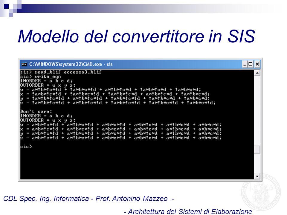 Modello del convertitore in SIS CDL Spec. Ing. Informatica - Prof. Antonino Mazzeo - - Architettura dei Sistemi di Elaborazione