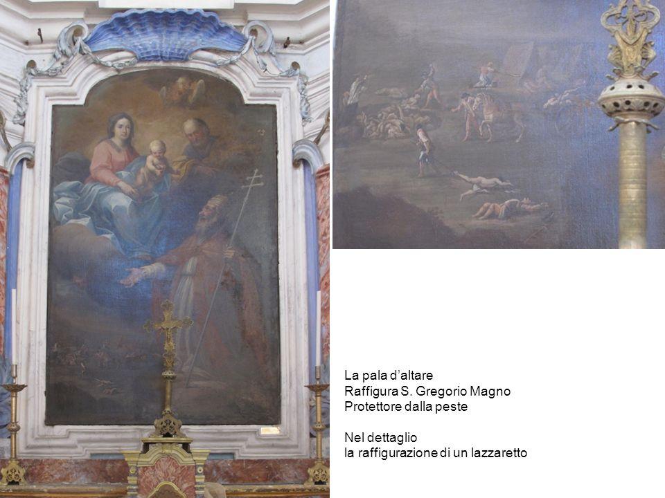 La pala daltare Raffigura S. Gregorio Magno Protettore dalla peste Nel dettaglio la raffigurazione di un lazzaretto