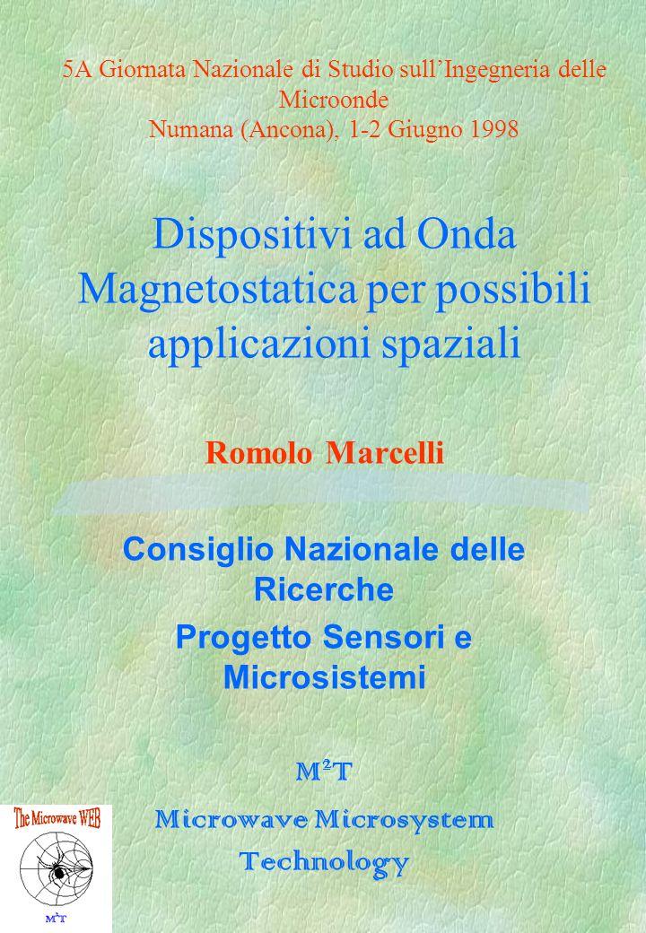 5A Giornata Nazionale di Studio sullIngegneria delle Microonde Numana (Ancona), 1-2 Giugno 1998 Dispositivi ad Onda Magnetostatica per possibili appli