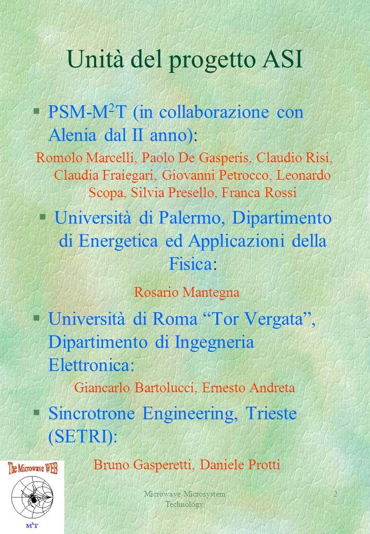 2 Unità del progetto ASI §PSM-M 2 T (in collaborazione con Alenia dal II anno): Romolo Marcelli, Paolo De Gasperis, Claudio Risi, Claudia Fraiegari, G