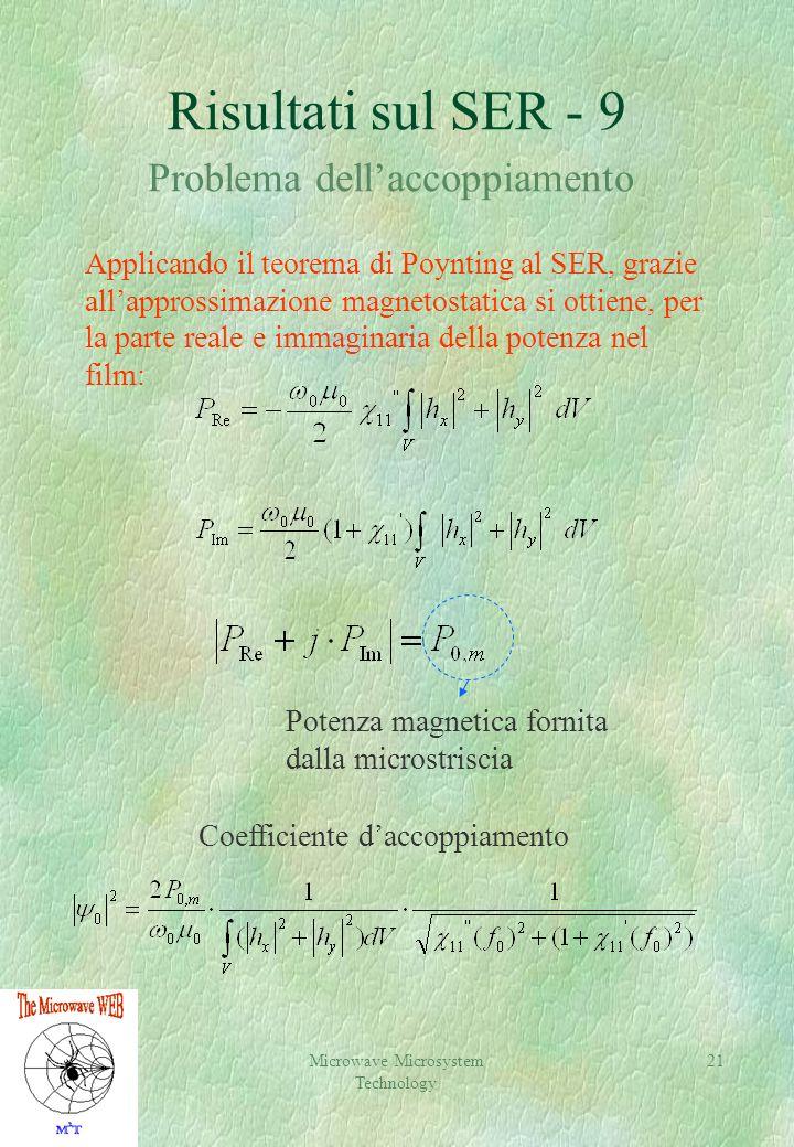 Microwave Microsystem Technology 21 Risultati sul SER - 9 Problema dellaccoppiamento Applicando il teorema di Poynting al SER, grazie allapprossimazione magnetostatica si ottiene, per la parte reale e immaginaria della potenza nel film: Coefficiente daccoppiamento Potenza magnetica fornita dalla microstriscia