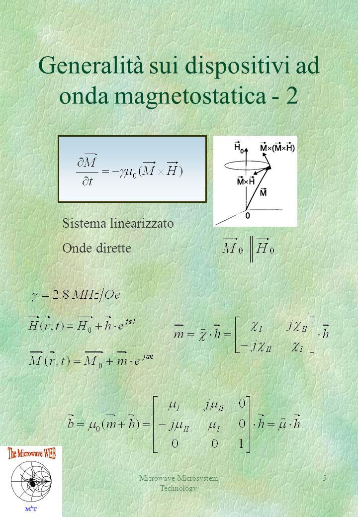 Microwave Microsystem Technology 5 Generalità sui dispositivi ad onda magnetostatica - 2 Sistema linearizzato Onde dirette