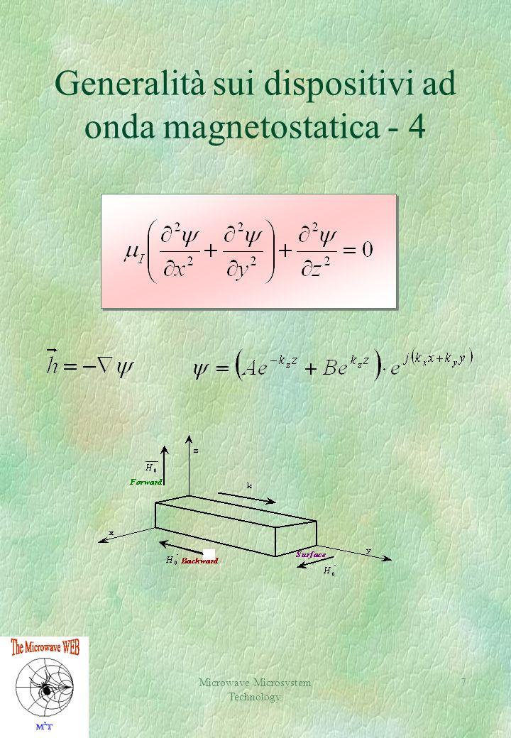 Microwave Microsystem Technology 7 Generalità sui dispositivi ad onda magnetostatica - 4