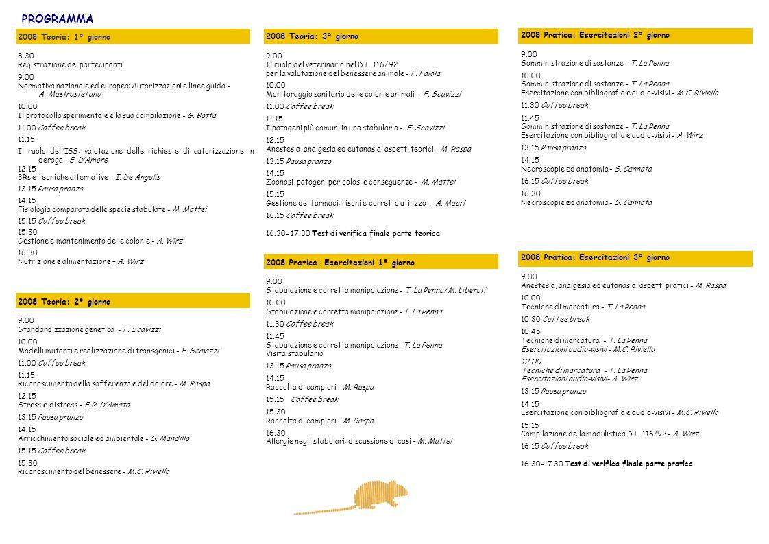 PROGRAMMA 2008 Pratica: Esercitazioni 2° giorno 9.00 Somministrazione di sostanze - T. La Penna 10.00 Somministrazione di sostanze - T. La Penna Eserc