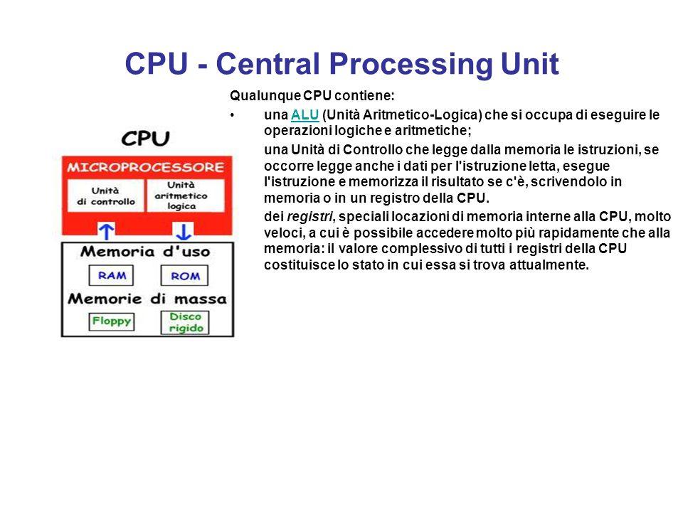 Componenti di un elaboratore In un elaboratore possiamo distinguere quattro componenti elementari: la La CPU (acronimo di Central Processing Unit, det